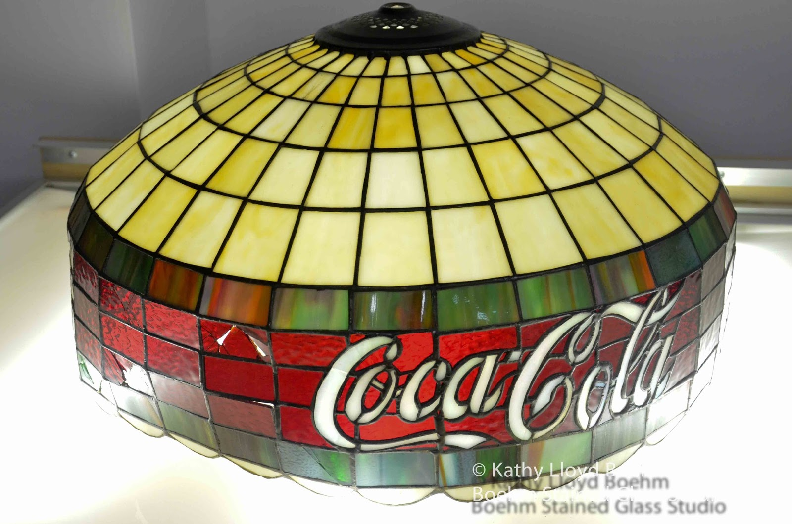 Coca Cola Stained Glass Lamp.Boehm Stained Glass Blog Coca Cola Stained Glass Lamp Repair