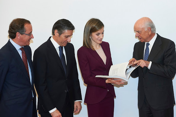 Queen Letizia of Spain attends a Meeting with the BBVA Microfinance Foundation at BBVA Headquarters