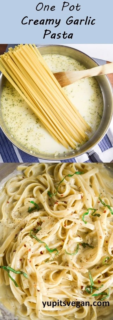 ONE POT CREAMY GARLIC PASTA #onepot #creamy #garlic #pasta #pastarecipes #easypastarecipes