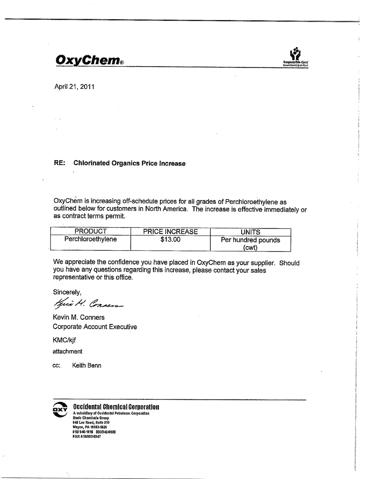 Chemical Market Info from RCU Chemical, LLC : April 2011