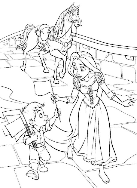 Printable Coloring Pages Disney Princess Tangled Rapunzel For Preschool