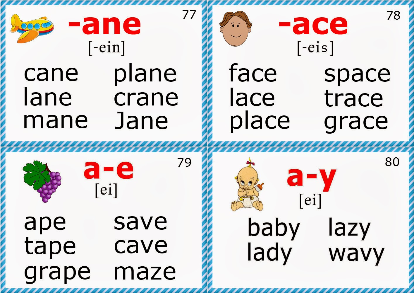 Phonics Flashcards Long A Vowel