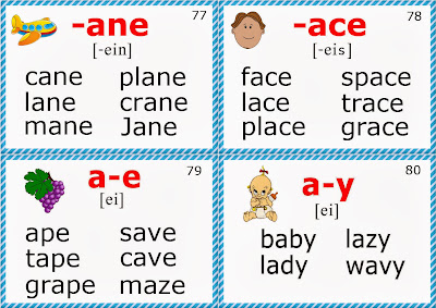 phonics flashcards for esl long a sound words