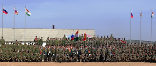 Joint photograph of Indian and Russian Contingents during closing ceremony on 01 Oct