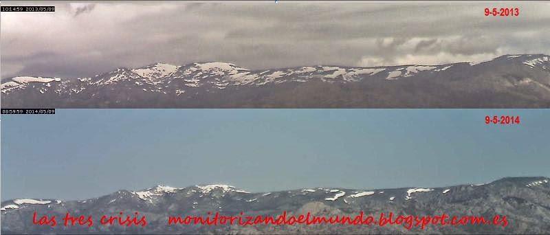 comparativa nieve sierra de guadarrama 9 de Mayo