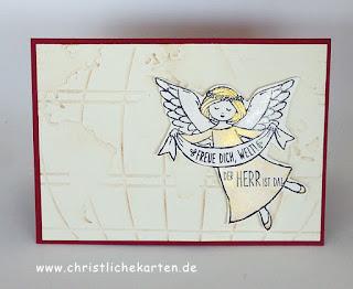 Stampin Up Weihnachtskarte mit engel und Stempelset Freue dich welt Jesaja 9