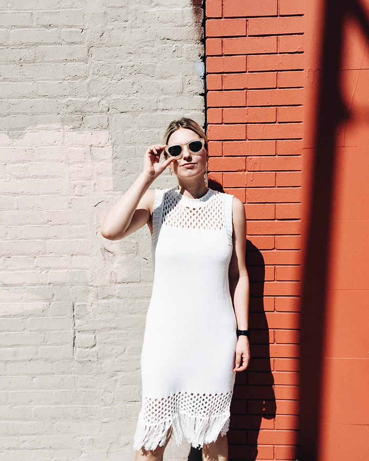Elborne Living Amour Vert Helen dress, Warby Parker Dorothy sunglasses, Bushwick, Brooklyn