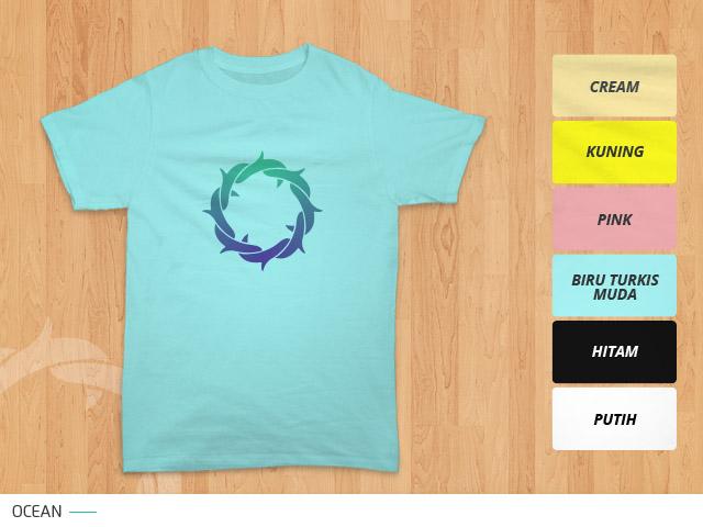 tampilan desain kaos mahkota duri ocean di kain warna biru turkis muda