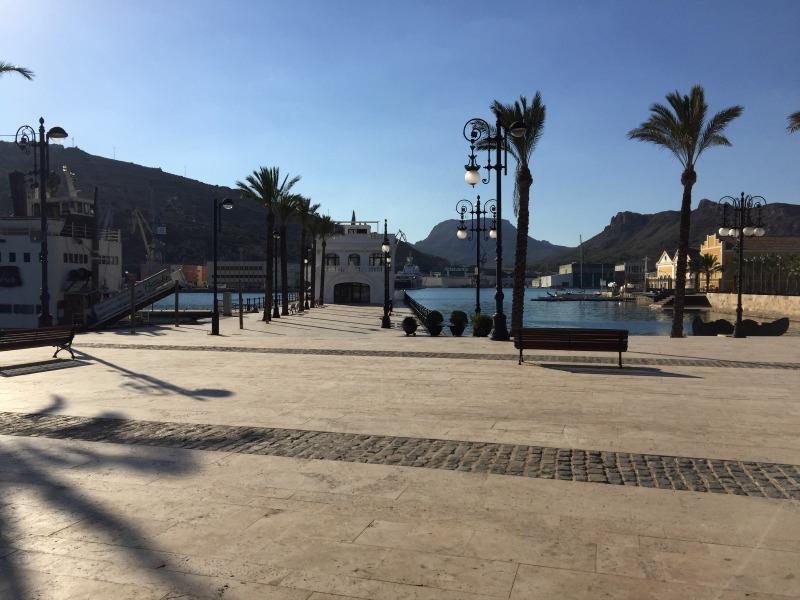 View of the marina walkway in Cartagena Spain
