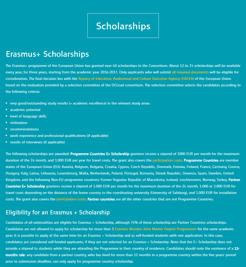 European Commission Masters Scholarship DCLead for International Students