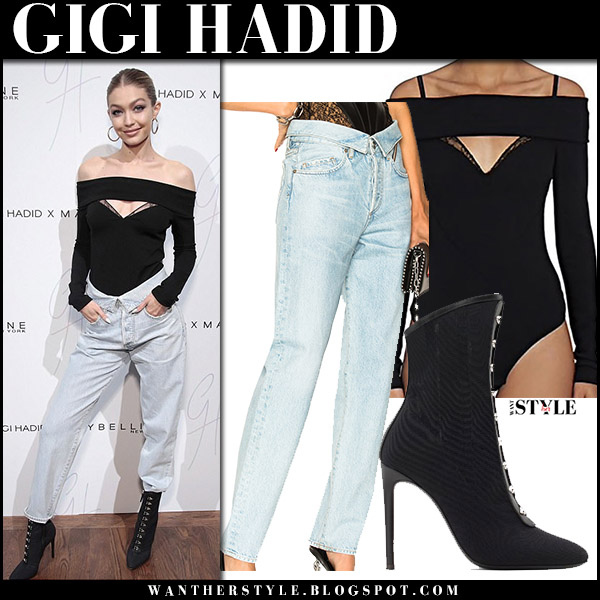 Gigi Hadid in black bodysuit jean atelier, jeans and ankle boots giuseppe zanotti maybelline event november 3 2017 fashion