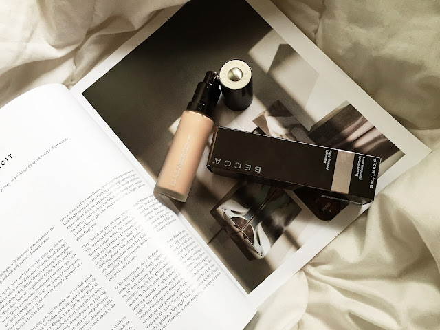 This image shows a full review of the Becca backlight priming filter