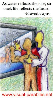 A person unsatisfied with who they are being consoled by Christ.