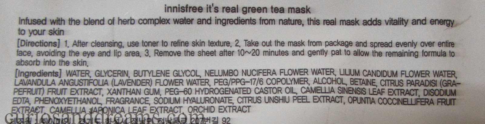 Innisfree It's Real Green Tea Mask review, Innisfree Green Tea Mask review