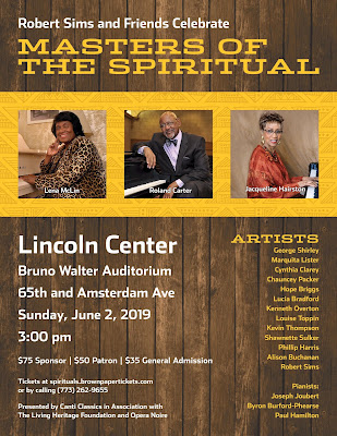 Lincoln Center NYC:  Masters of the Spirituals Concert  Sunday, June 2, 3 PM