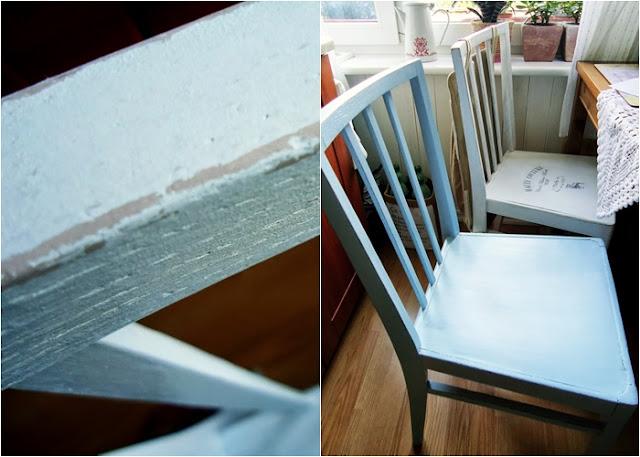 odnowiłam krzesło po babci, niebieskie krzesło