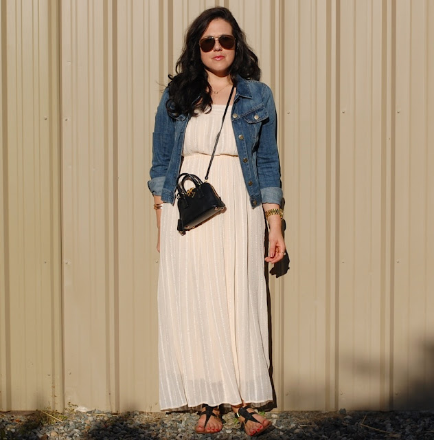 Winter white maxi dress, J.Crew jean jacket, gold aviator sunglasses and a mini crossbody Prada BL0851
