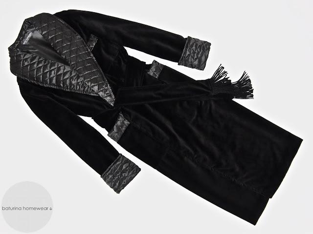 Mens black velvet dressing gown smoking jacket robe