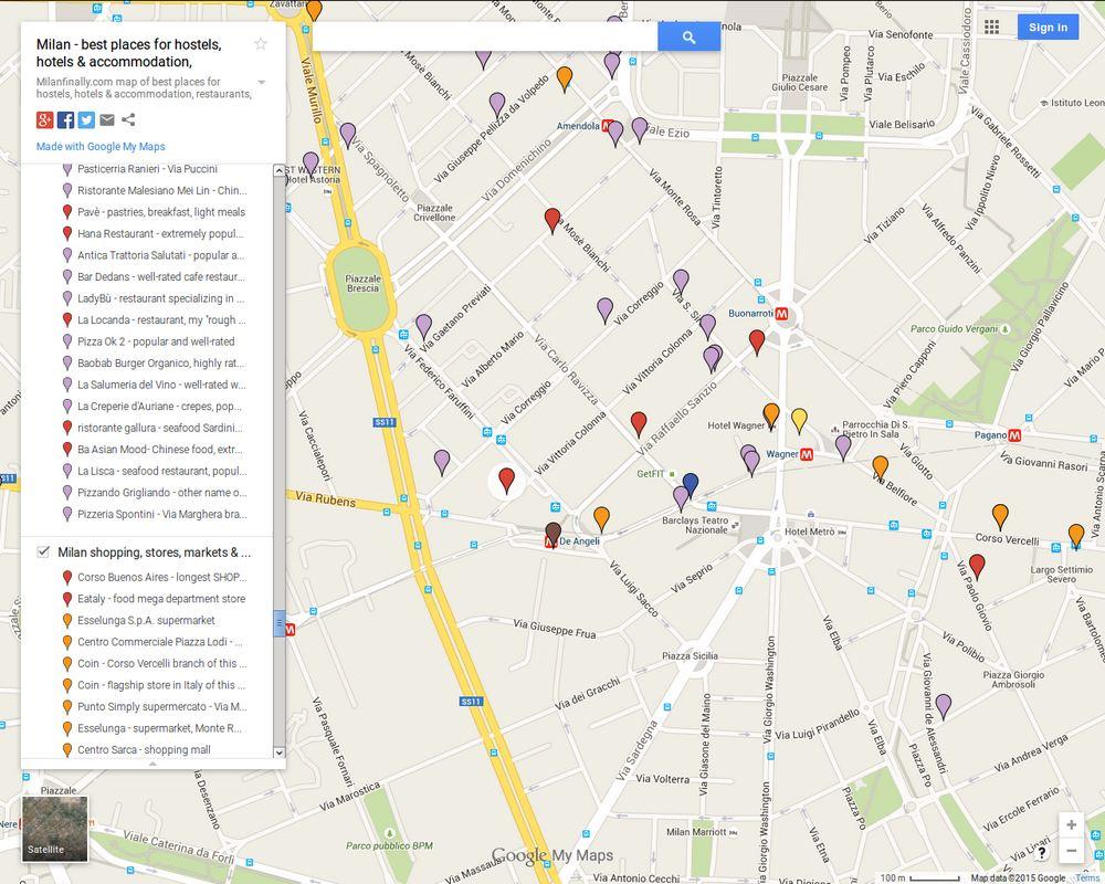 Map Of Restaurants Around Via Marghera De Angeli Wagner Piazza Piemonte And Corso