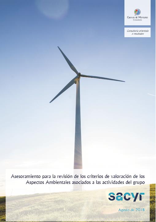 Portada del trabajo por el que Cuevas y Montoto Consultores ayudará al grupo Sacyr a revisar los criterios de valoración de sus aspectos ambientales