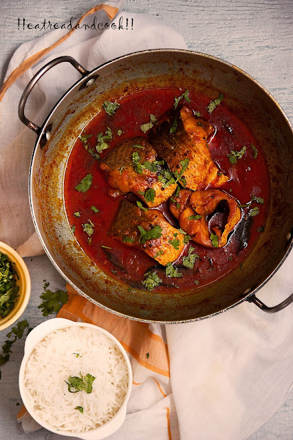 how to make Kerala Boatman Fish Curry / kerala red fish curry recipe and preparation with step by step pictures