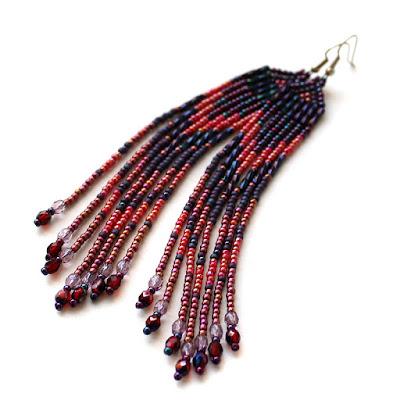 красивые длинные серьги купить украшения из бисера цена фото
