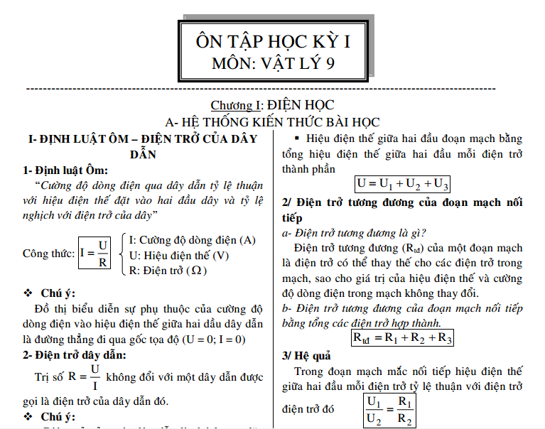 Đề cương Vật lý 9 HK1: Hệ thống lý thuyết, Hệ thống bài tập có lời giải rất hay