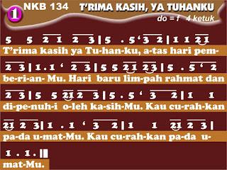 Lirik dan Not NKB 134 T'rima Kasih, Ya Tuhanku