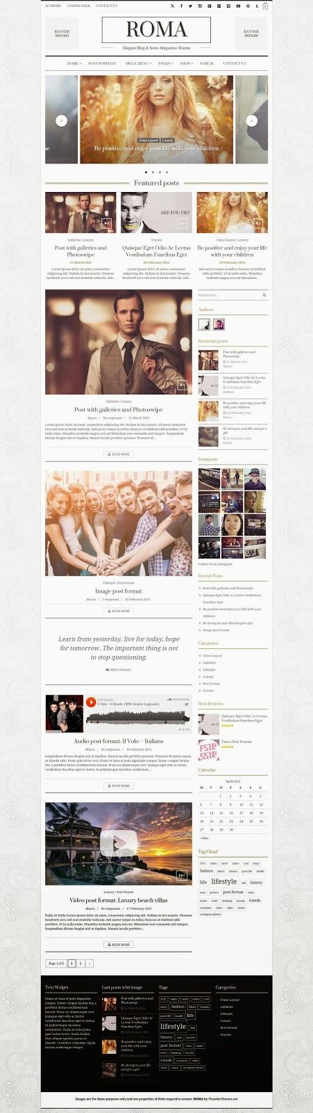 Responsive Blog News Magazine WordPress Theme 2015