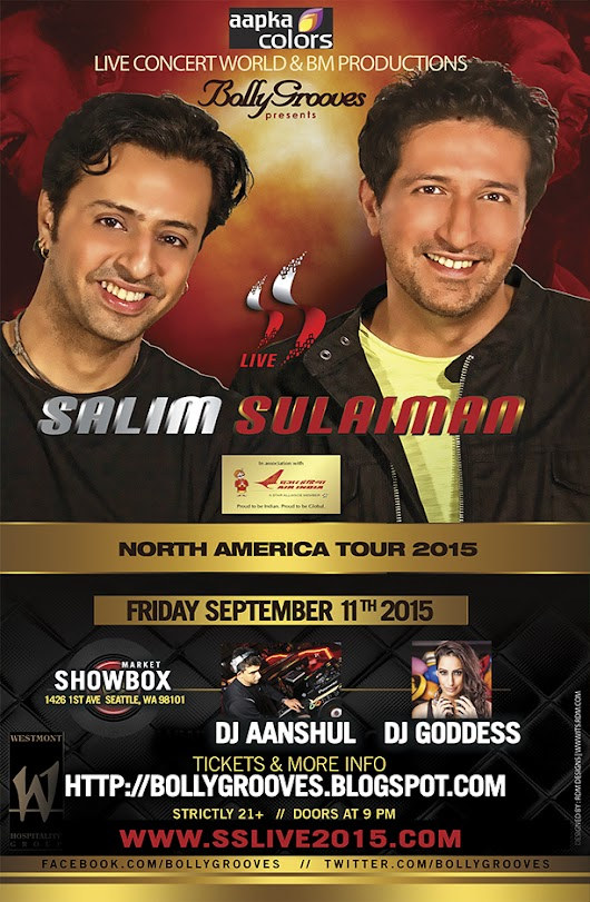 Salim - Sulaiman performing in Seattle Friday, Sept 11th 2015 at the Showbox (market)
