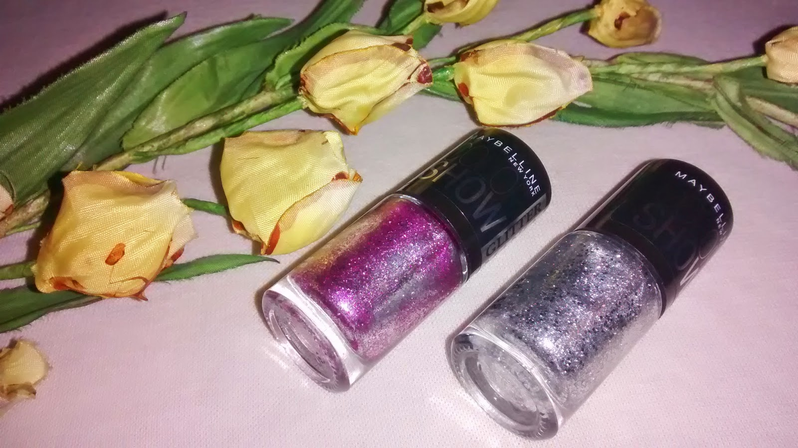 Maybelline Color Show Glitter Mania Nail Enamels - Dazzling Diva #602 and Matinee Mauve #605