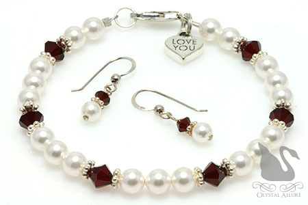 Love You Heart Charm Crystal Pearl Bracelet Set (BES5)