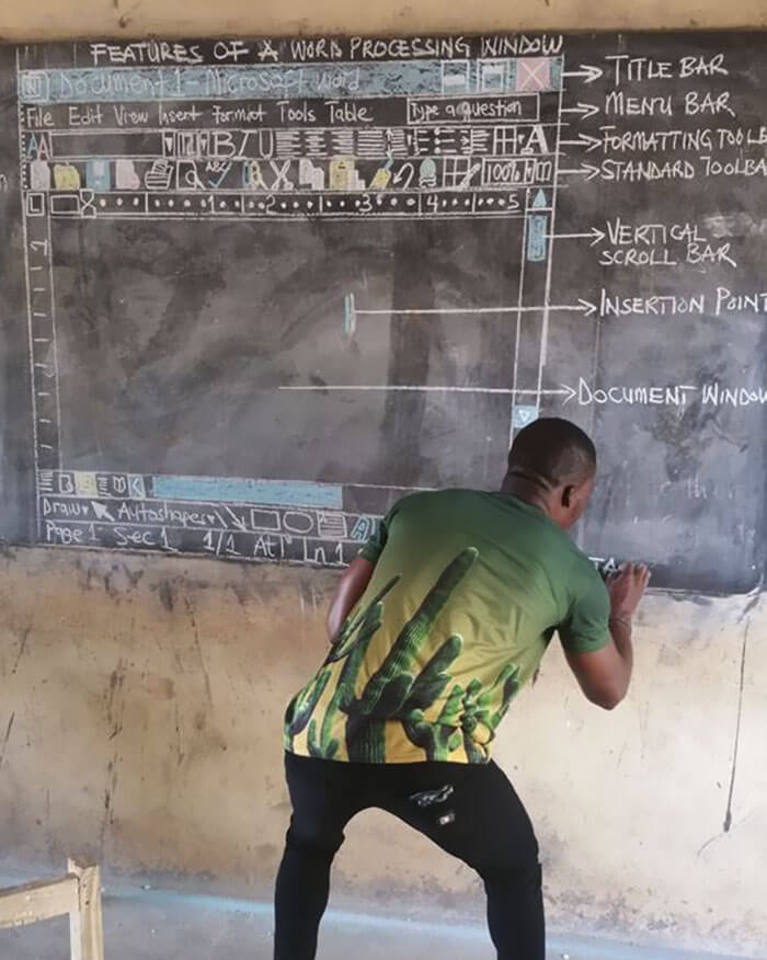 Teacher In Ghana Drew 'MS Word' On Chalkboard And Went Viral