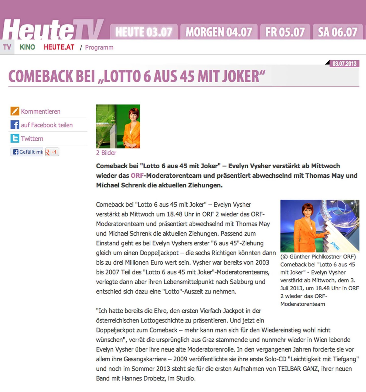 Comeback Bei Lotto 6 Aus 45 Mit Joker Evelyn Vysher Comeback
