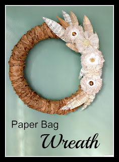 Vintage, Paint and more... a wreath made from brown paper bags, vintage fabric flowers and book page feathers