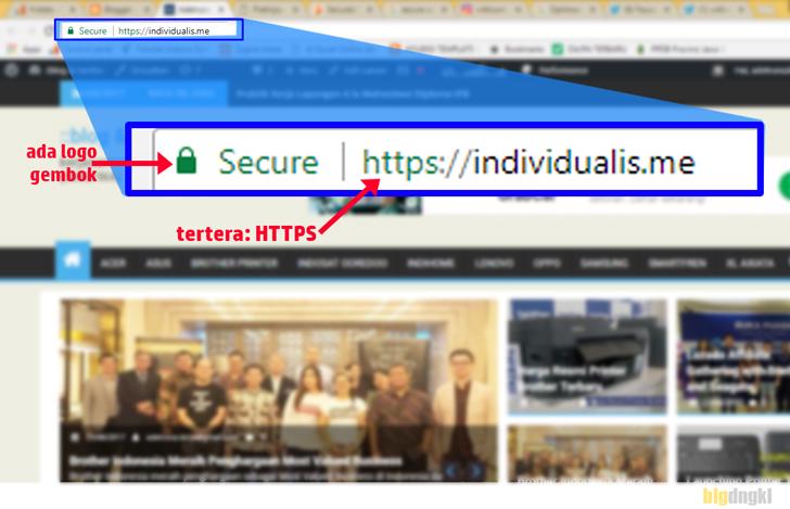 Contoh penerapan SSL pada blog, maka akan terlihat dengan beberapa ciri-cirinya. Contoh: https:individualis.me