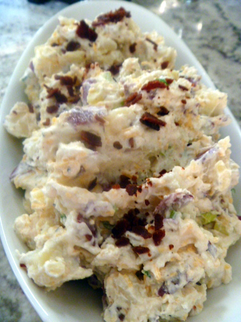 This taste like a loaded baked potato turned into a salad!  Loaded Baked Potato Salad is a MASTERPIECE! - Slice of Southern