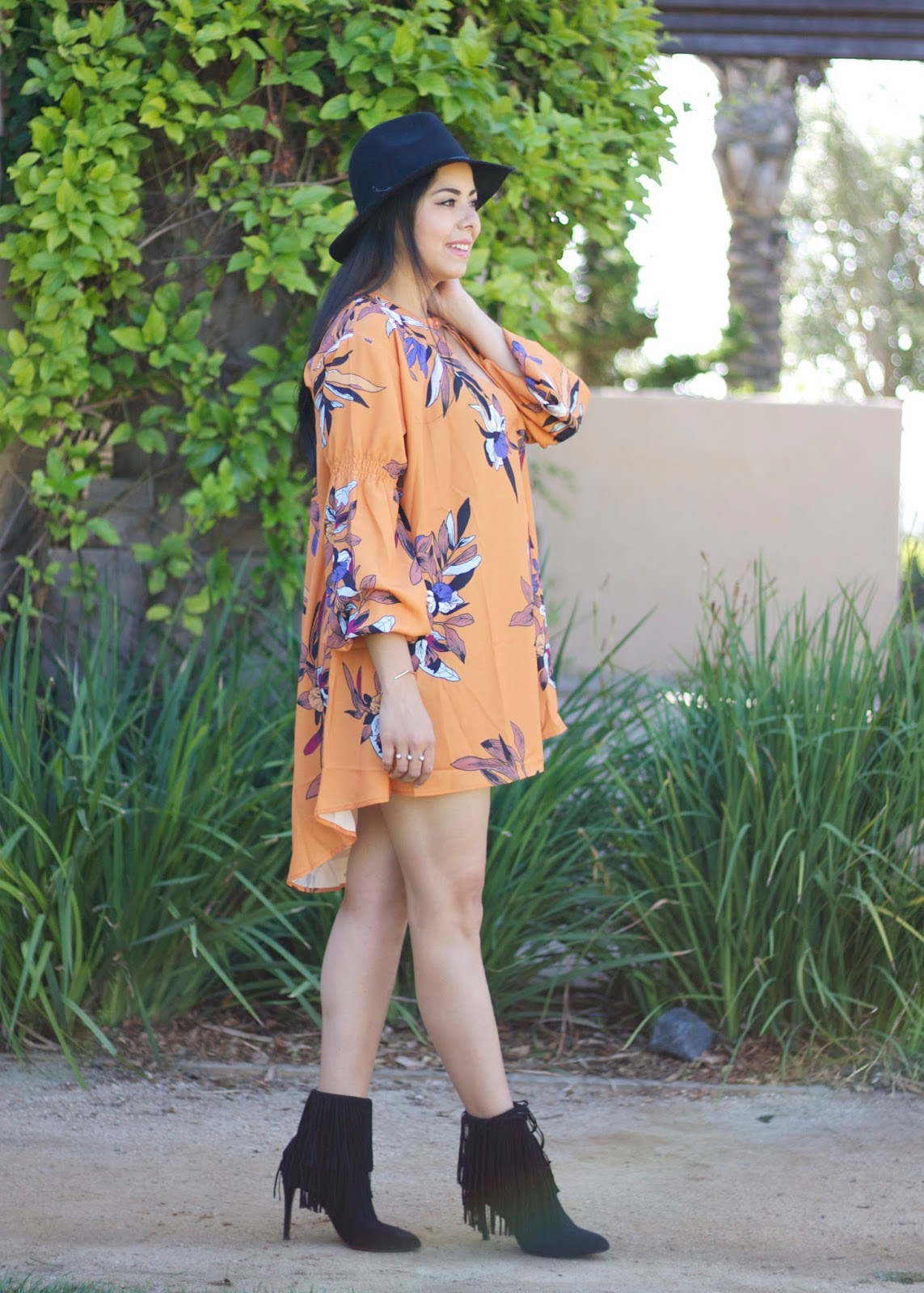Fall 2015 Outfit, San Diego Fall Fashion 2015, San Diego fashion blogger, shein dress, fedora helt hat