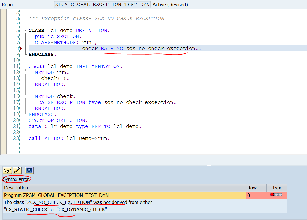 TECHSAP : OO ABAP EXCEPTION: uses of CX_NO_CHECK