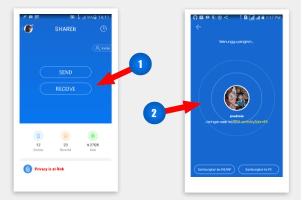 Cara menerima file dengan shareit