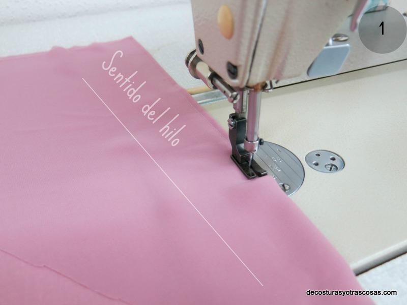 coser lorzas finas sobre gasa