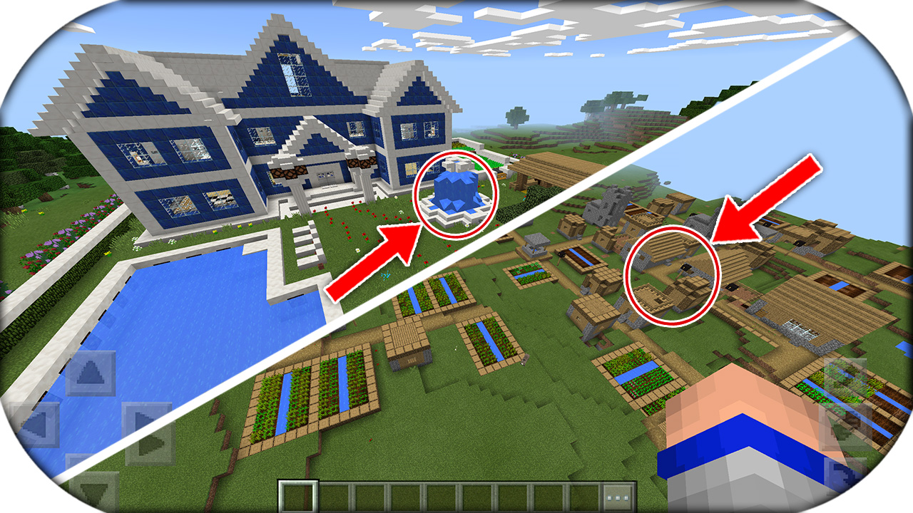 Increible casa moderna con super aldea y mina for Casa moderna minecraft pe 0 10 5