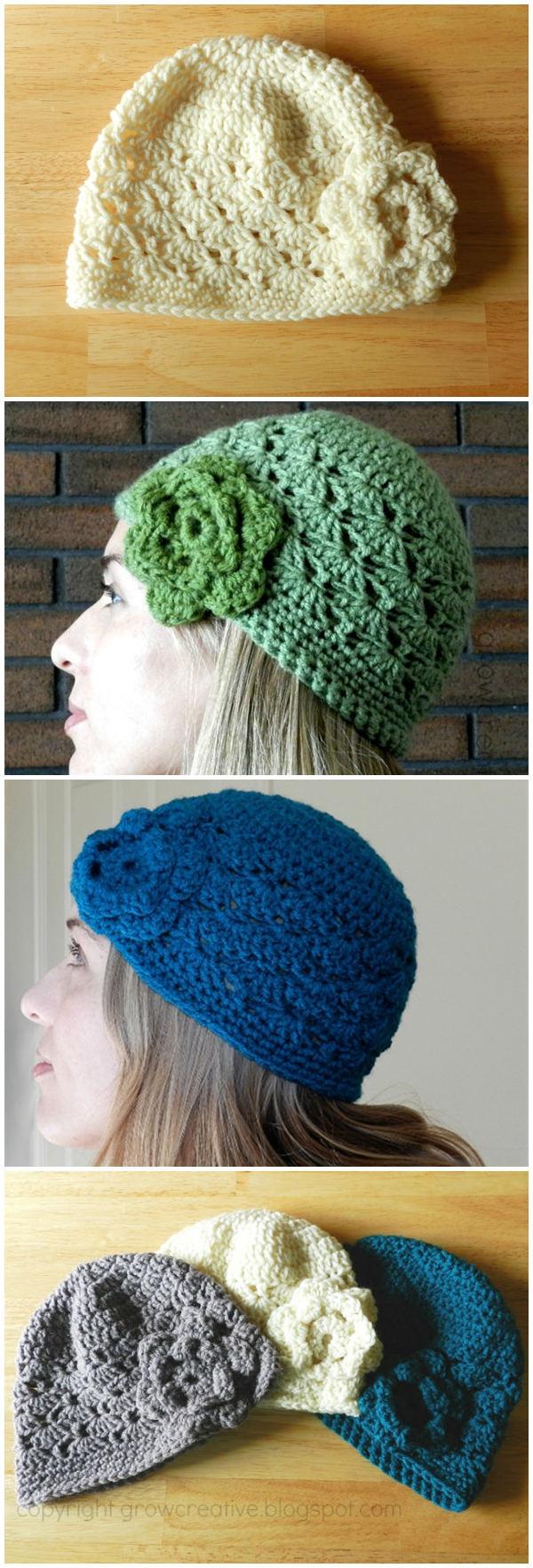 Shell Stitch Crochet Hat Free Pattern