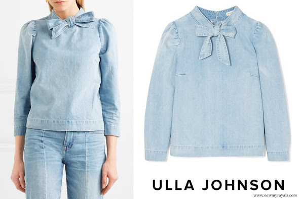 Princess Mette-Marit wore ULLA JOHNSON Wes bow embellished denim blouse