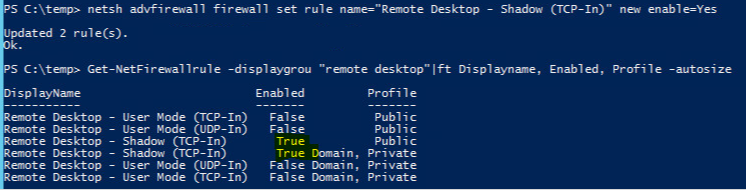 Enabling RDP using firewall rule and powershell   Geeky Unix notes