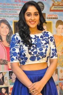 Regina Casandra in Stunning White Embroidery Crop Top Choli and Blue Ghagra at Santosham awards 2017 curtain raiser press meet 02.08.2017 042.JPG