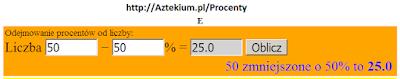Odejmowanie procentów