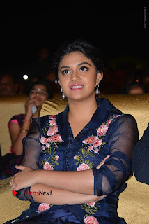 Actress Keerthi Suresh Stills in Blue Long Dress at Nenu Local Audio Launch  0019.JPG
