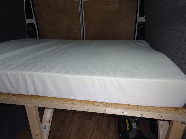 van conversion making a high double bed