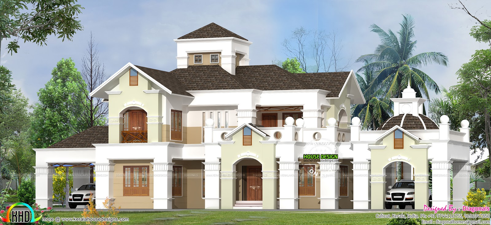 Colonial home at calicut kerala home design and floor plans for Colonial style homes in kerala